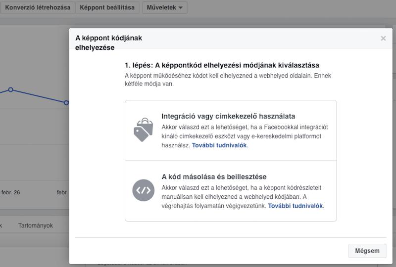 Facebook képpont elhelyezésének lehetőségei a weboldaltól függően