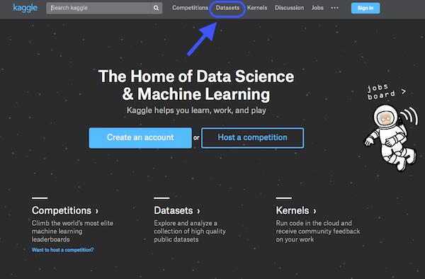 Hol vannak az adathalmazok a Kaggle weboldalon?