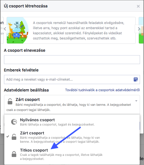 titikos Facebook csoport létrehozása
