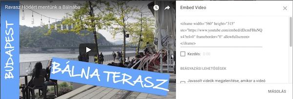 Youtube videó beágyazás kódja