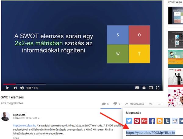 Youtube videó megosztási linkje