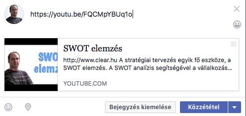 youtube videó megosztási előnézete, ha bemásolod a Facebook posztba