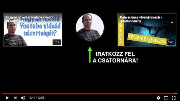 Videó záróképernyő, rajta feliratkozás gombbal, a youtube feliratkozók növelése érdekében