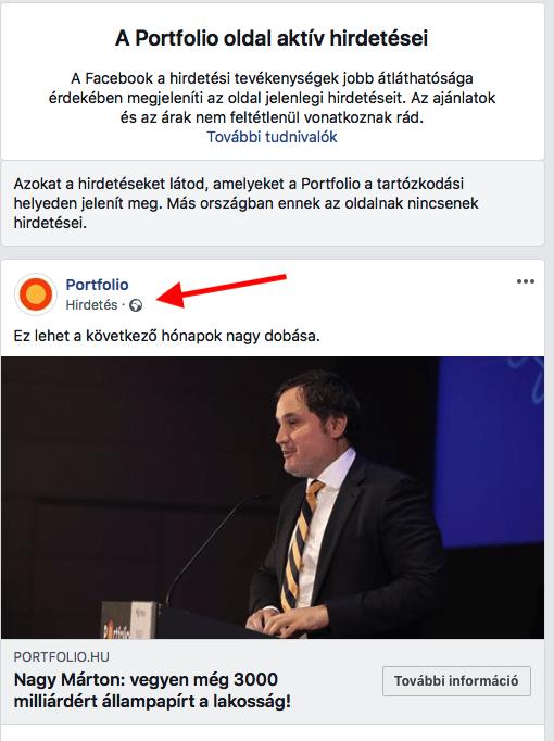 portfolio.hu aktív Facebook hirdetése