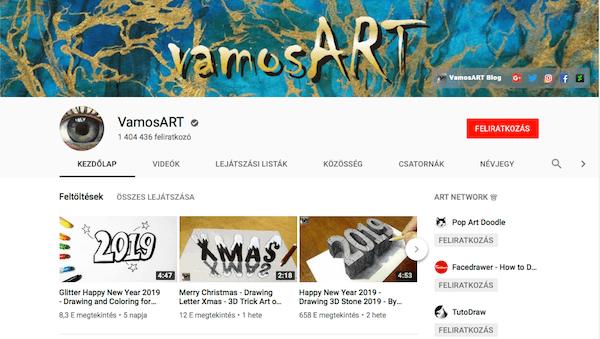 Vamos ART Youtube csatorna pozícionálás