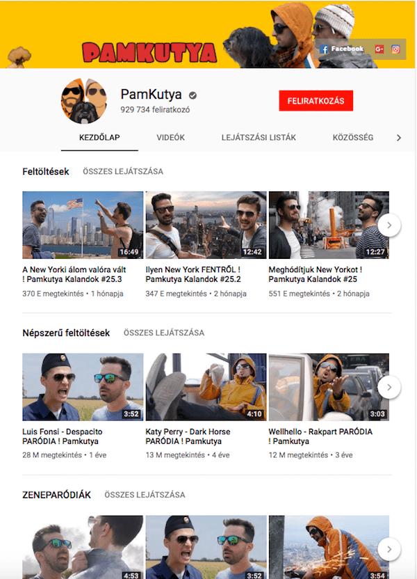 csatorna pozícionálásban a csatorna szekciók használata a Pamkutya Youtube csatornán