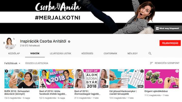 Csorba Anita inspirációs videók - Youtube csatorna